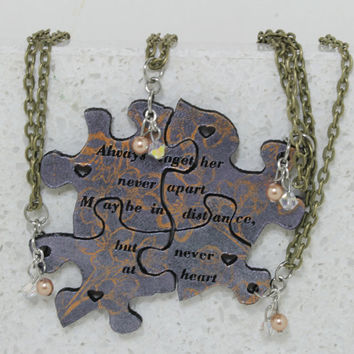 Best Friend pendants Always together, never apart saying Silver with bronze floral stamping
