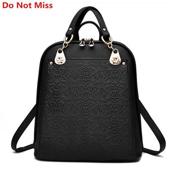 Do Not Miss Pattern Black Backpack for teenage girls high quality PU Leather school backpack waterproof student school Book bags