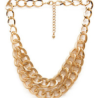 FOREVER 21 Fresh Layered Chain Necklace Gold One