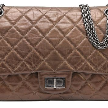CHANEL Bag Metallic Leather 2.55 Reissue 227 Bronze Flap Shoulder Ruthenium HW