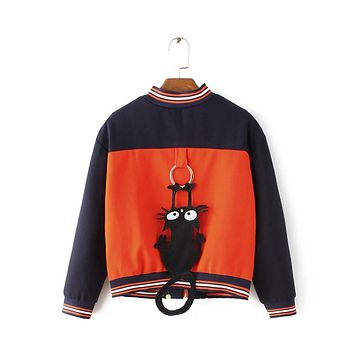 autumn cat embroidery color ornaments back collar