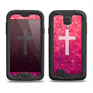 The Vector White Cross v2 over Unfocused Pink Glimmer Samsung Galaxy S4 LifeProof Fre Case Skin Set