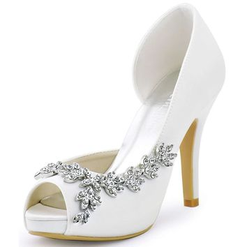 ElegantPark Women's Peep Toe Platform High Heel Rhinestones Satin Evening Prom Wedding Shoes
