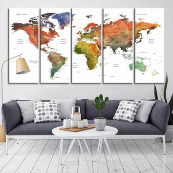 72908 - Large Wall Art World Map Canvas Print- Custom World Map Push Pin Wall Art- Custom World Map Canvas Poster Print- Personalized Wall Art