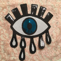 Large Crying Eye Sequin Iron-On Back Badge Patch Appliqué Avant Garde All-Seeing Illuminati Eye 80s 90s Lolita Punk Goth Tumblr Aesthetic