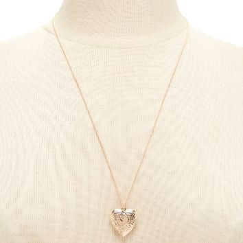 Etched Heart Locket Necklace