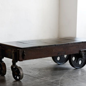Best industrial cart coffee table products on wanelo Antique wheels for coffee table