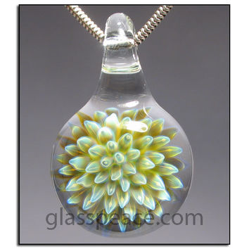 Glass Pendant Sea Anemone Flower Focal Lampwork Bead - Glass Peace Glass Jewelry (5836)
