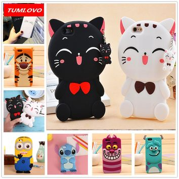 For Apple iPhone 5 5S 5SE 6 6S 7 8 Plus X Case 3D Cartoon Animal Silicone Soft Cases Cover Judy Rabbit Smile Cat Tiger Stitch