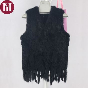 Winter women real rabbit fur vest with tassel lady knit 100% real rabbit fur jacket sleeveless coat 2018 new fashion