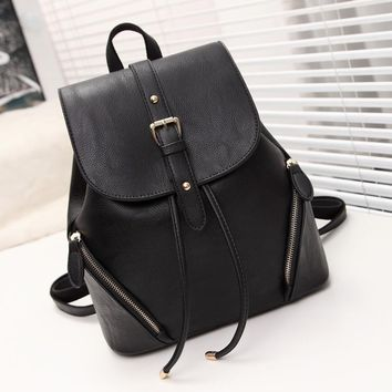 Black Casual Leather Backpack Daypack Travel Bag