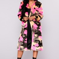 In Command Faux Fur Coat - Multi