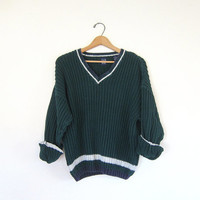vintage chunky knit sweater. dark green preppy vneck sweater. stripe sweater. prep school sweater
