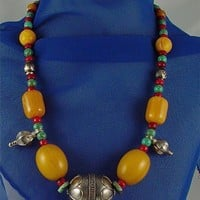 Vintage Eastern Silver Amber and Gemstone Beads in Facing East Design