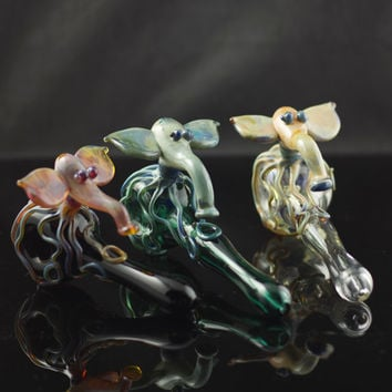 Octophant Octopus Elephant Glass Spoon Pipe Hand Blown Thick Wall in YOU CHOOSE the COLOR, Made to Order