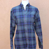 Vintage 90's Plaid Flannel Button up Grunge Style Mens S Womens L Green Blue check long lumberjack