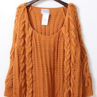 Twist Round Neck Orange Sweater  S004268