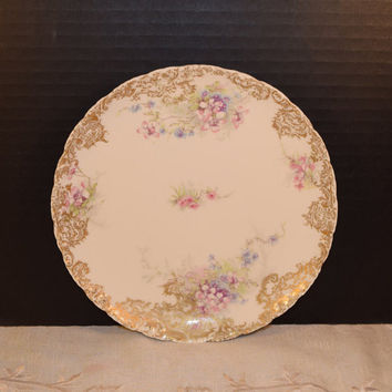 Theodore Haviland Limoges Salad Plate Vintage Theo Haviland Limoges Shabby Chic Lunch Plate Gold Trim French Kitchen Afternoon Tea Party