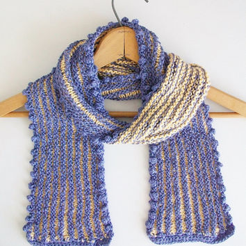 Purple Yelllow Striped Knit Scarf Handmade Knitted Lavender Gold Scarf Romantic Vintage Style