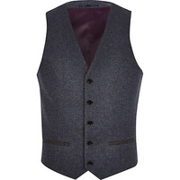 River Island MensBlue single breasted vest