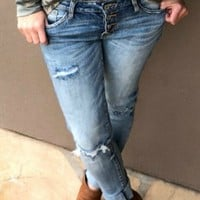 4-Button Boyfriend Jeans
