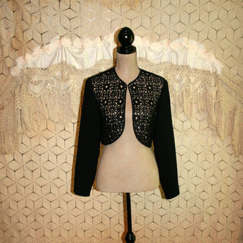 Black Cocktail Jacket Bolero Jacket Cropped Jacket Sequin Formal Jacket Black Lace Jacket Donna Morgan Size 10 Jacket Medium Womens Clothing