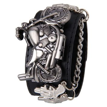 Punk Rock Chain Skull Women Men Bracelet Cuff Gothic Wrist Watch