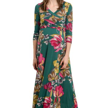 LaClef Women's Floral Print Draped 3/4 Sleeve Long Maxi Maternity Dress (Large, Green Floral)