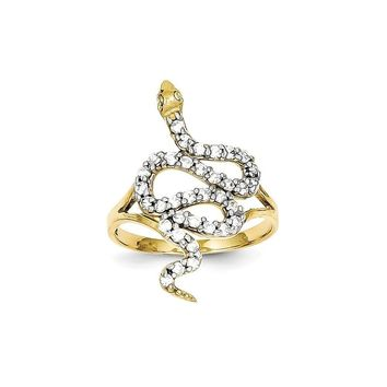 10k Yellow Gold & Rhodium CZ Snake Ring