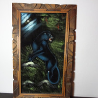 Vintage Framed Black Panther Painting on Black Velvet - Mexico