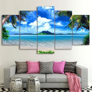 Frame Decor Room Wall Art 5 Pieces Palm Trees Blue Sky White Cloud Sea Scene Paintings Posters Modular Pictures Canvas HD Prints