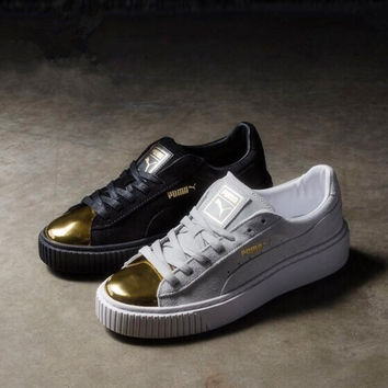 Puma Platform Suede Gold Black & White Gold Toe