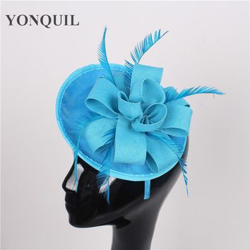 High quality 15color sea blue church headwear nice sinamay fascinators hats wedding hair accessories party hat bridal headpieces