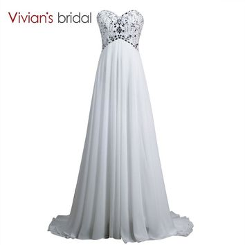 Beaded Crystal Sweetheart Chiffon Beach Wedding Dress A Line Summer Bridal Wedding Gowns