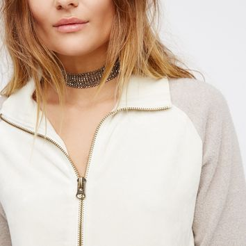 Free People Feelin' Velour Half Zip Pullover