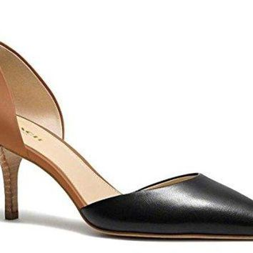 DCCKG2C Coach Women's Belle Black/Saddle Pump Sandal