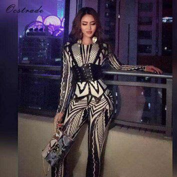 Ocstrade Black Round Neck Long Sleeve Maxi Sequined Flower Printing Autumn Christmas Party Bodycon Jumpsuit HW245-Black