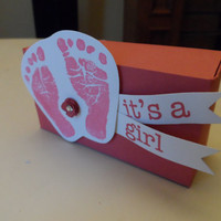 15 Girl Baby Shower Invitations with Matching Favor Box Pink Foot Prints and Hand Prints