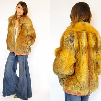 avant garde RED FOX FUR cropped coat jacket zip up bomber, extra small-large