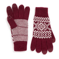 BURGUNDY AND CREAM TOUCHSCREEN GLOVES - Winter Accessories  - Shoes and Accessories