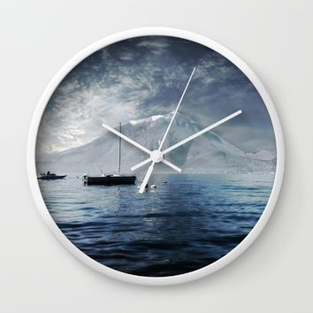 Blue Boat Wall Clock by Nicolette Ward