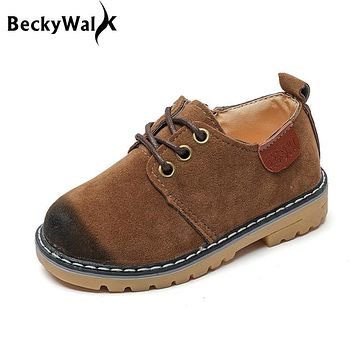 Children Shoes Boys Girls Round Toe Martin Boots Fashion Lace Up Botas Kids Baby Boys Autumn Shoes Full Size 21-36 CSH220