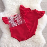 Lace Ruffles Romper baby clothes 2017 Kids Girls Infant Lace Romper Jumpsuit Cotton Clothes Outfits