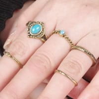 5 PCS national wind restoring ancient ways is oval gem ring