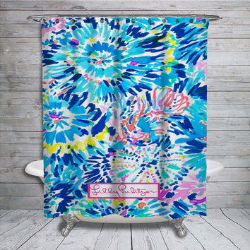 "Lilly Pulitzer Blue Coral Custom Print On Shower Curtain 60""x72"" Limited"