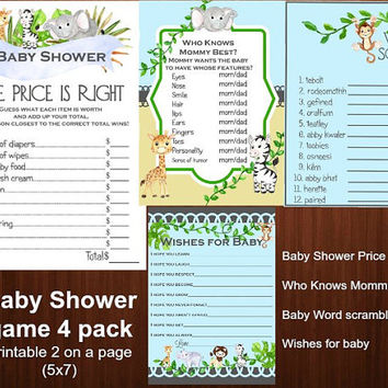 Printable. Safari shower games, Jungle shower games, zoo shower game, 4 pack, Price is Right, word scramble, Who knows mommy best, baby wish
