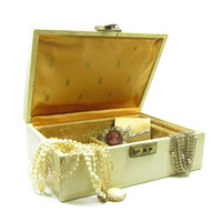 Mele Jewelry Box Ivory with Gold Interior Vintage Hard Midcentury Jewelry Case