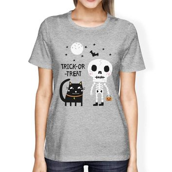 Trick-Or-Treat Skeleton Black Cat Womens Grey Shirt
