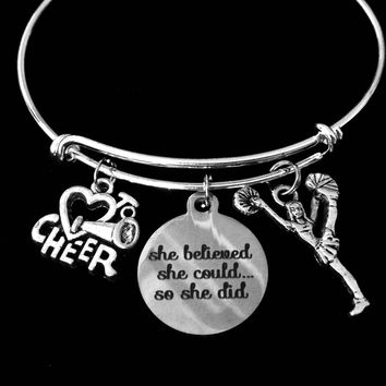 Love to Cheer Cheerleader Jewelry Expandable Charm Bracelet She Believed She Could Silver Adjustable Wire Bangle Gift