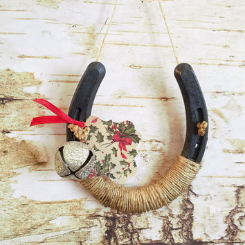 Holiday Horseshoe, Christmas Decorated Horseshoe, Country Decor, Wrapped in Twine with Vintage Style Jingle Bell, Holiday Gift Tag